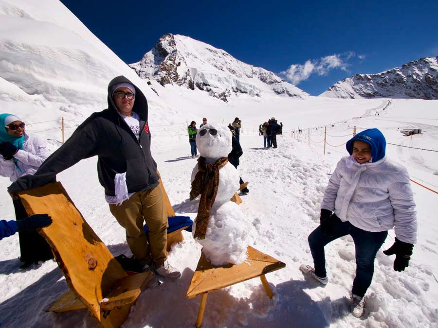 Jungfraubahn Sneeuwpop maken Zwitserland