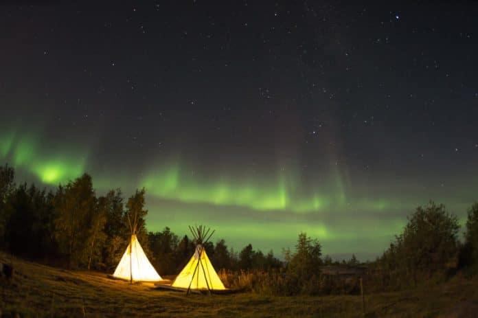 Noorderlicht Noorwegen sami tent