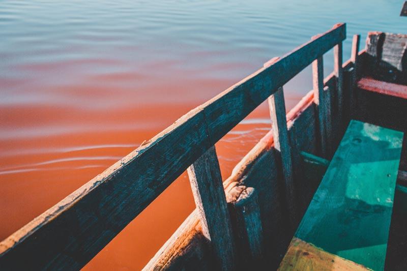 sengegal vakantie roze meer kleur plankton