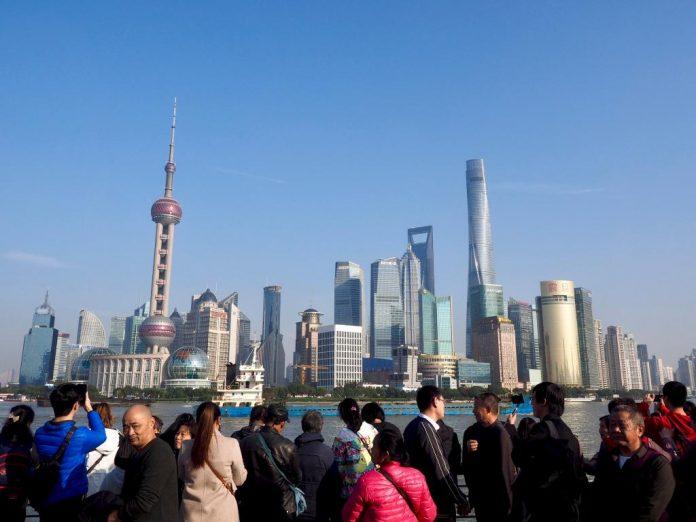 De skyline van Shanghai Pudong